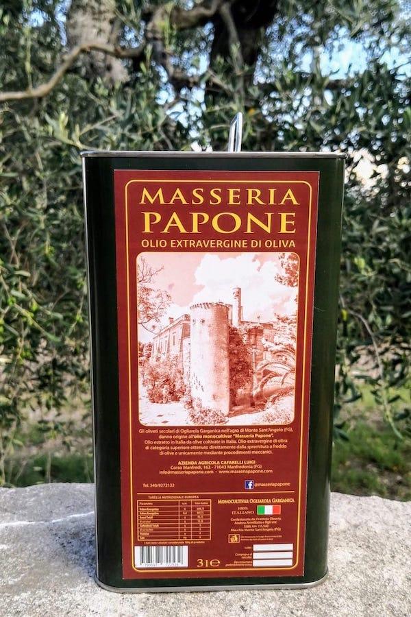 lattine da 3 litri olio extravergine di oliva Masseria Papone